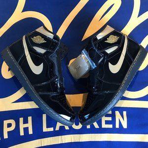 Nike Air Jordan 1 Black Metallic Gold Patent Leath